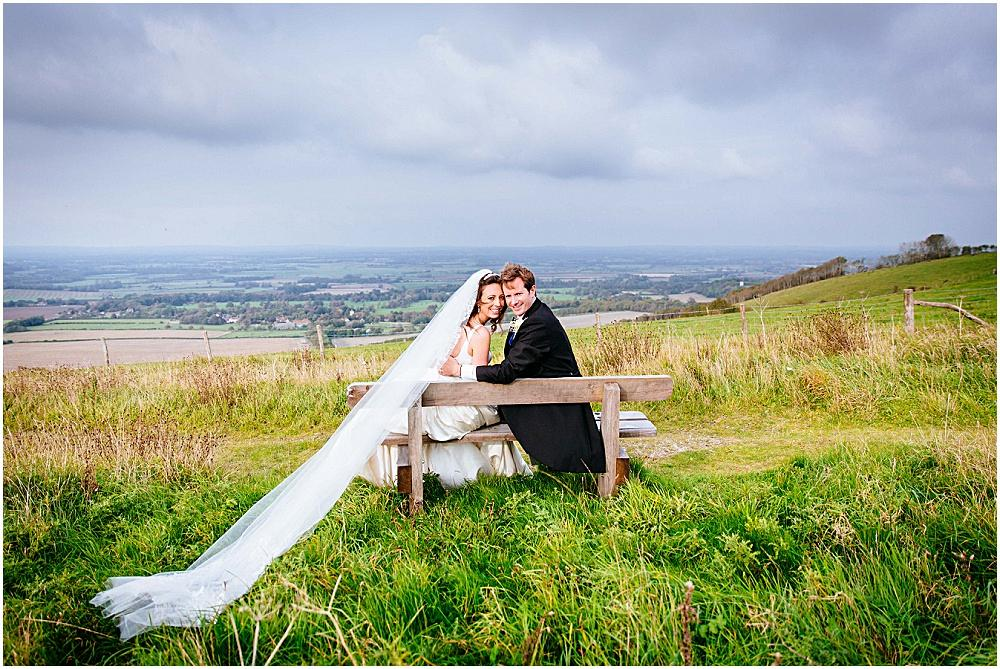 Bride and groom on firle beacon