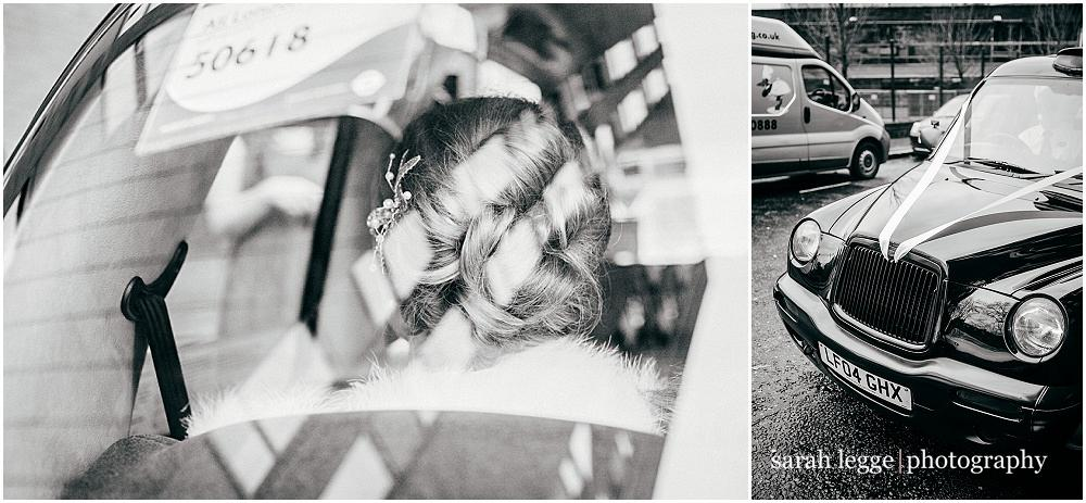 Bride in black cab