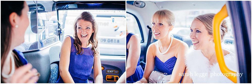 Bridesmaids in london cab