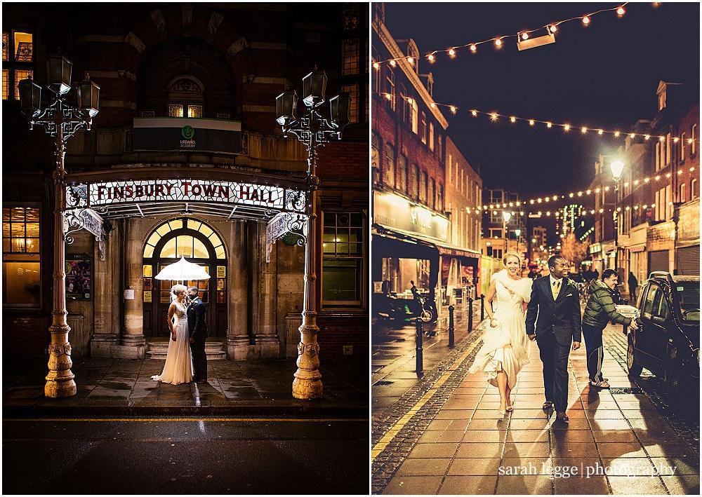 Old finsbury town hall wedding umbrella shot