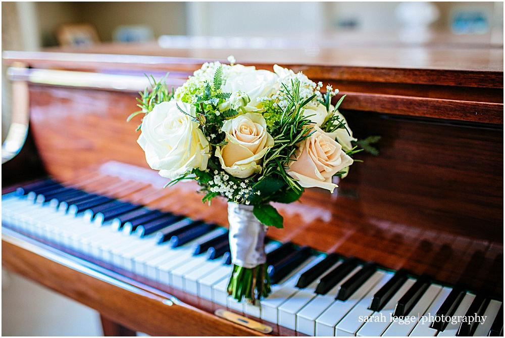 Bridal bouquet on piano