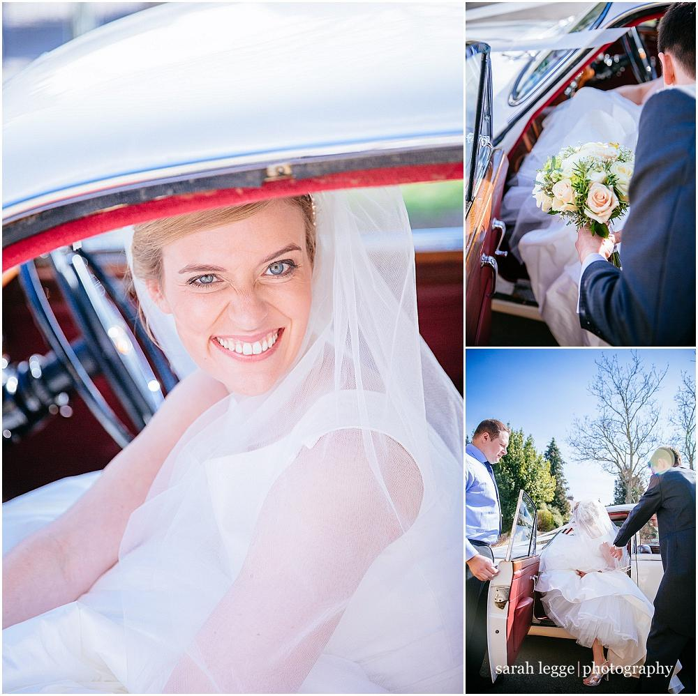 Beautiful bride in vintage car