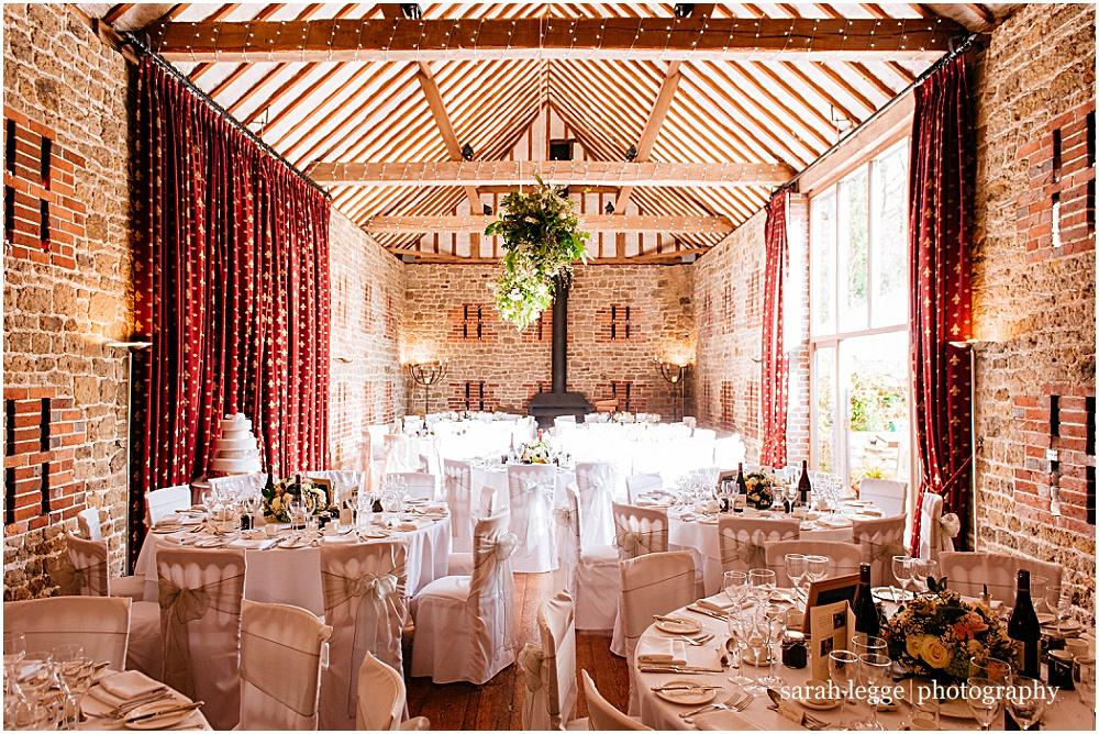 Batholomew Barn wedding tables set up