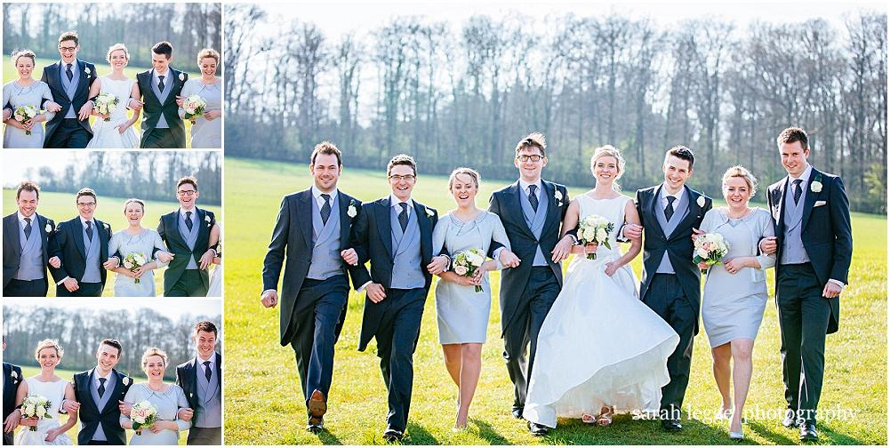 Walking wedding party photograph