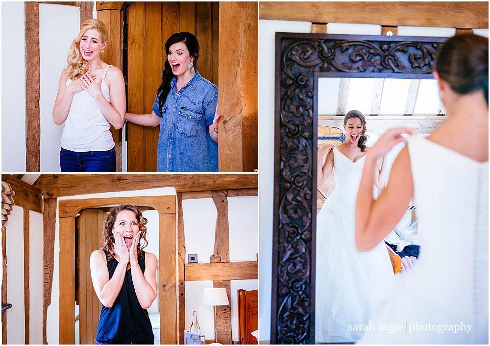 Bridesmaid squeal at sight of dress