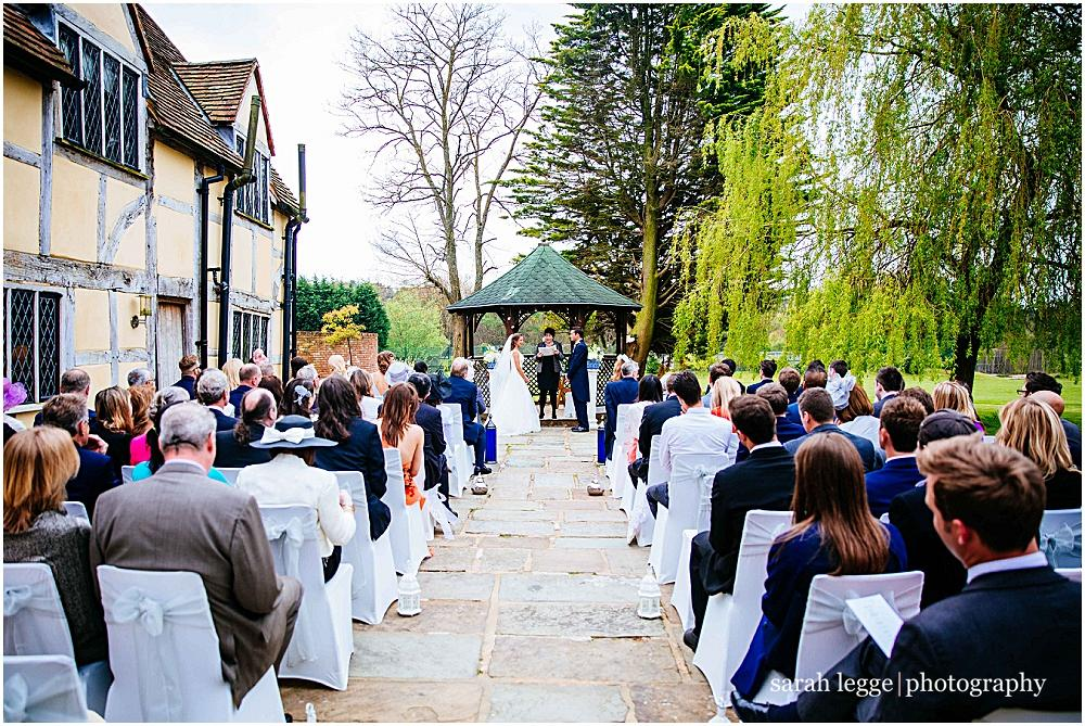 Outdoor wedding ceremony at Cain manor