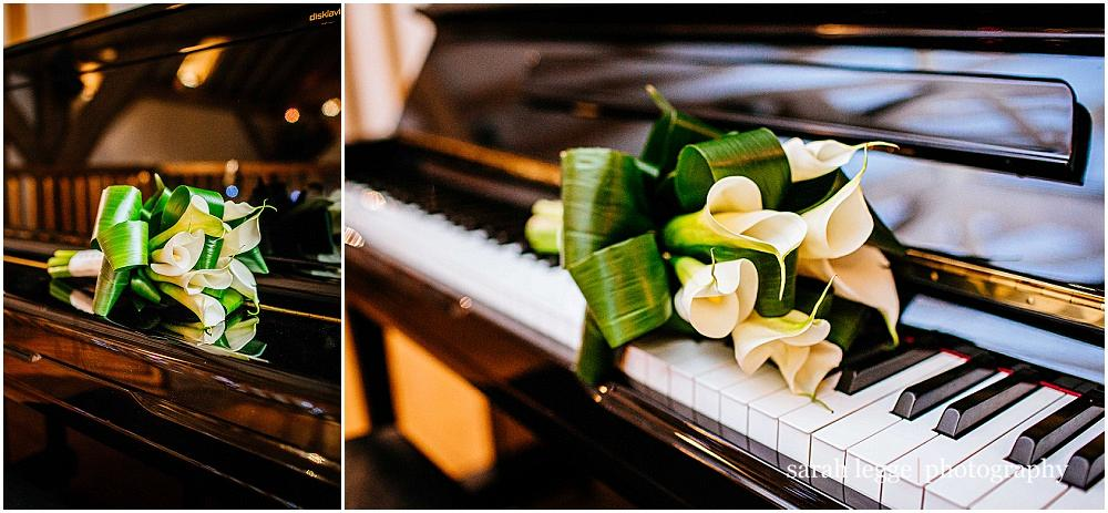 Wedding bouquet on piano