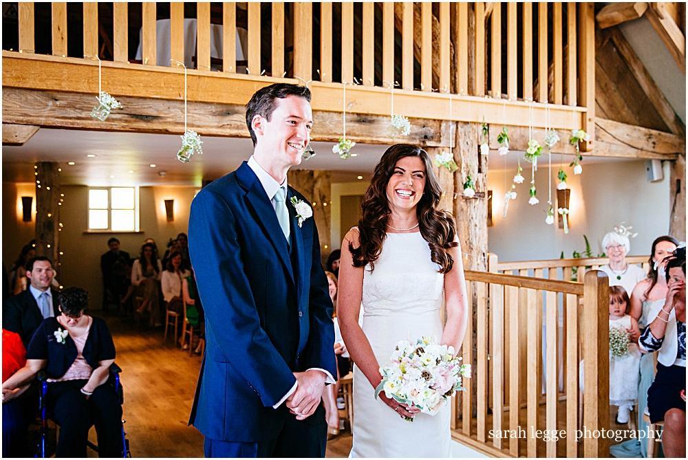 Smiles during wedding ceremony