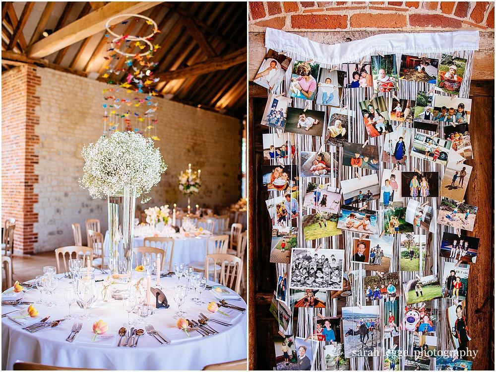 Hanging photos at wedding