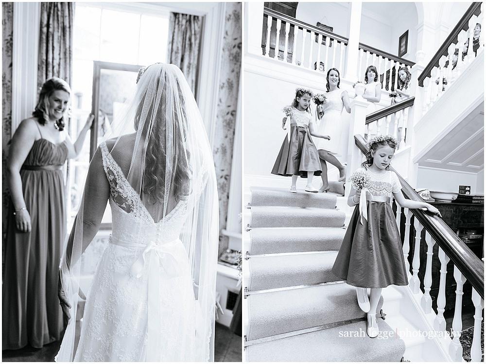 Bridesmaids walking down steps