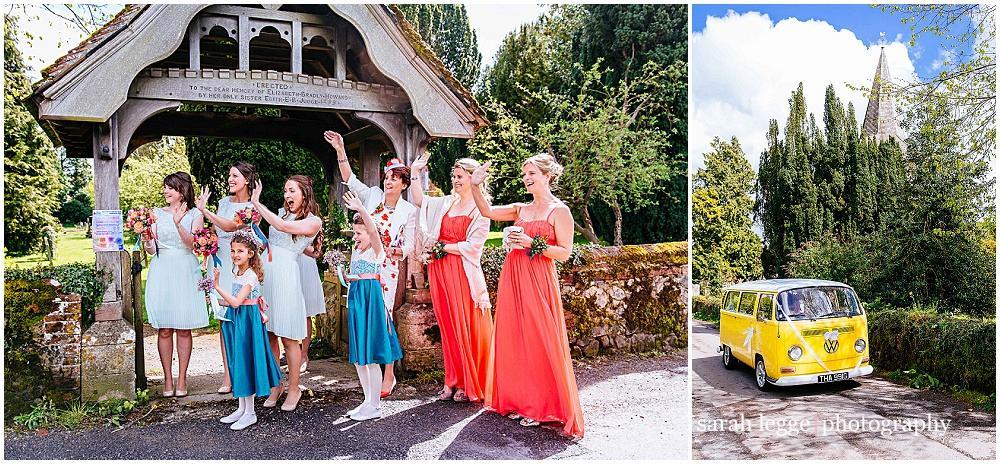 Bridesmaids waving at bride
