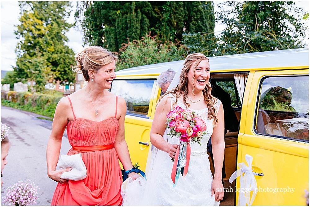 Bride arrives in vw camper van