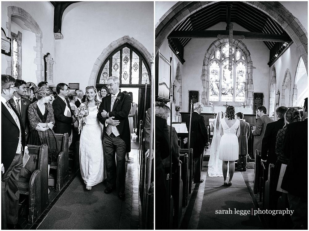 Walking down the aisle in Holybourne church