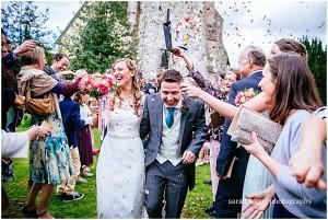 Confetti at church wedding