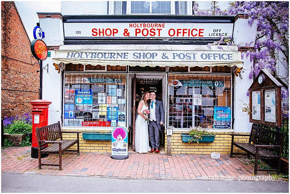 Couple outside sweet shop
