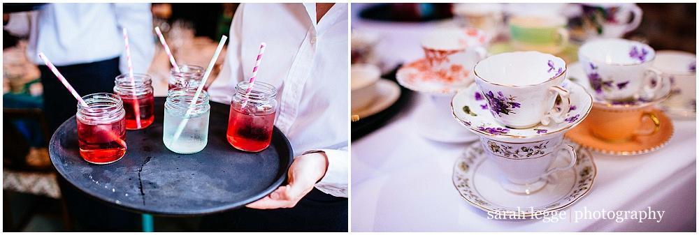 Vintage tea cups at wedding
