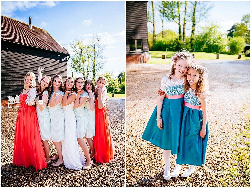 Group photographs at wedding barn
