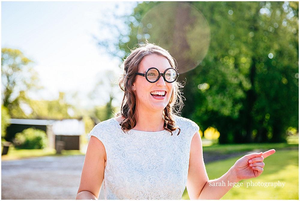 Bridesmaid in funny glasses