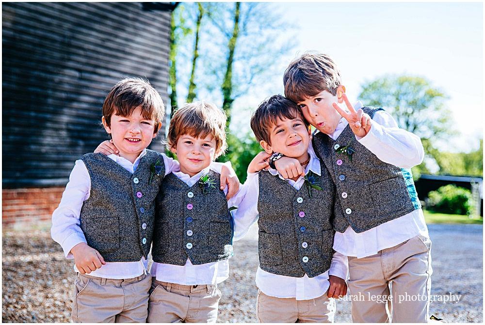 Pageboys in homemade waistcoats