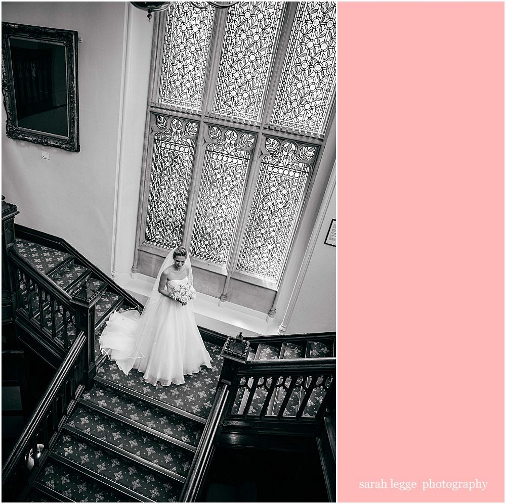 Bride on latimer place staircase