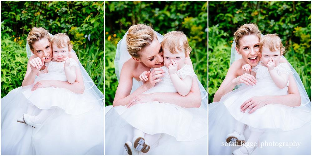 Bride and toddler daughter