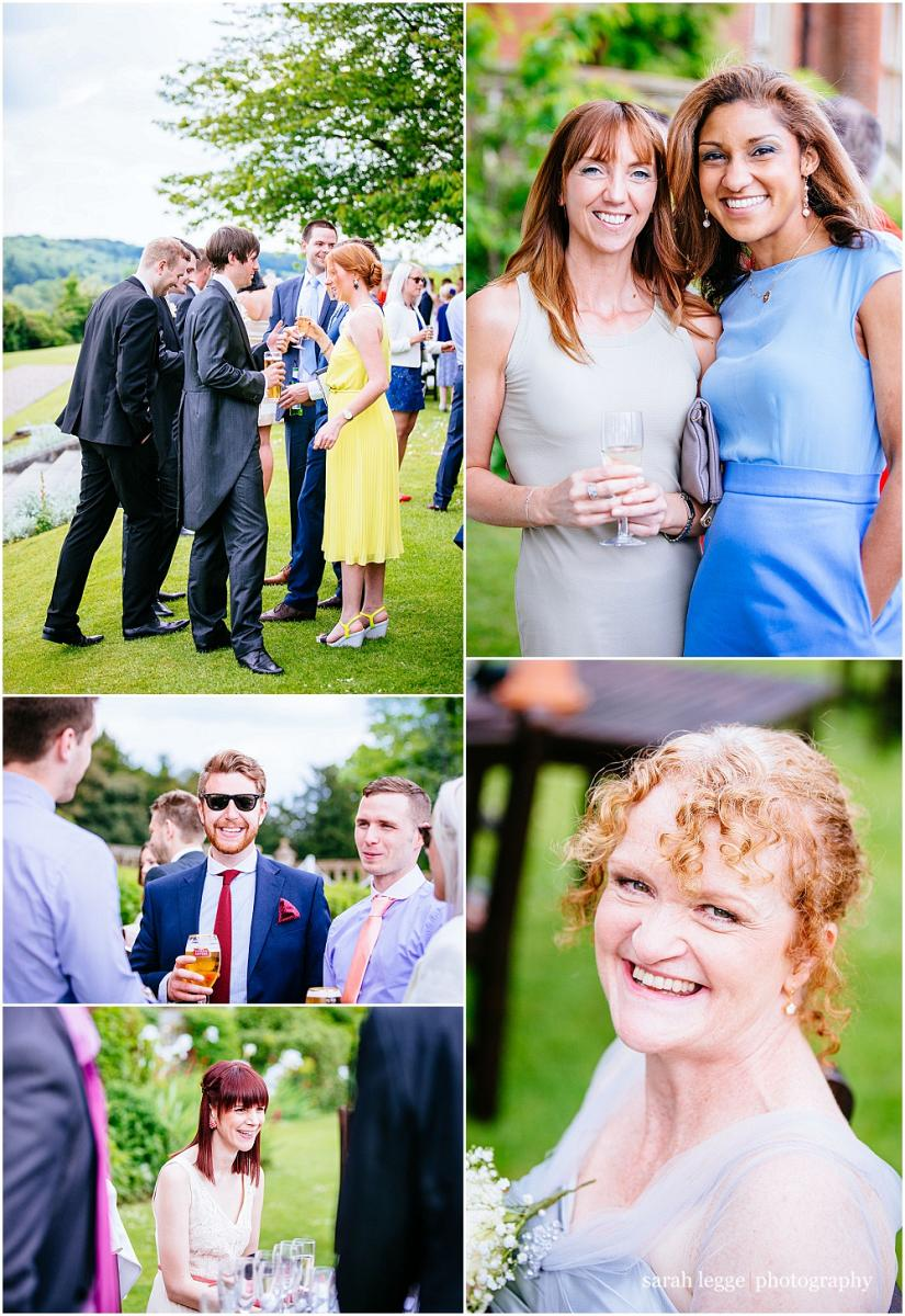 Happy guests during outside wedding reception