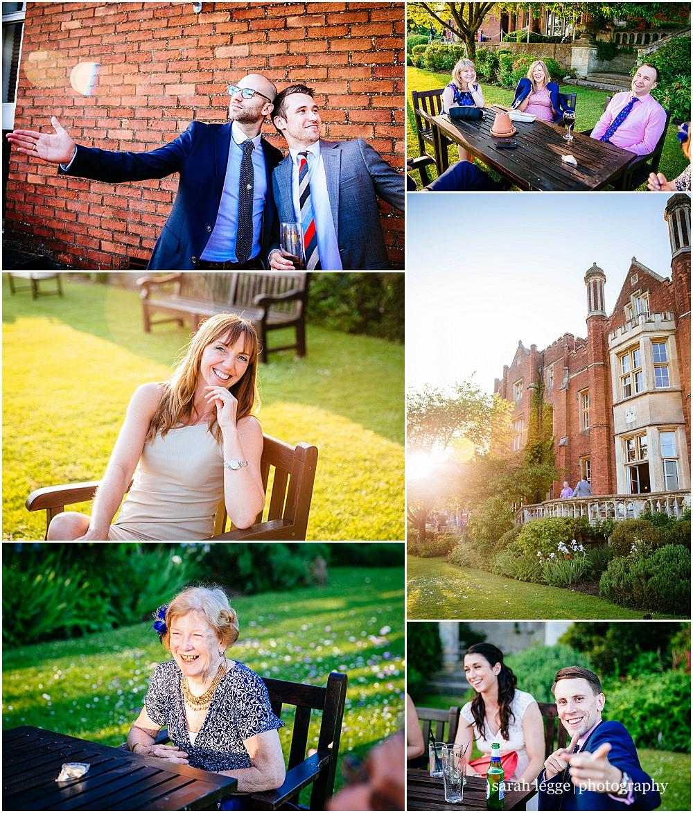 Latimer place wedding guests in golden sunlight