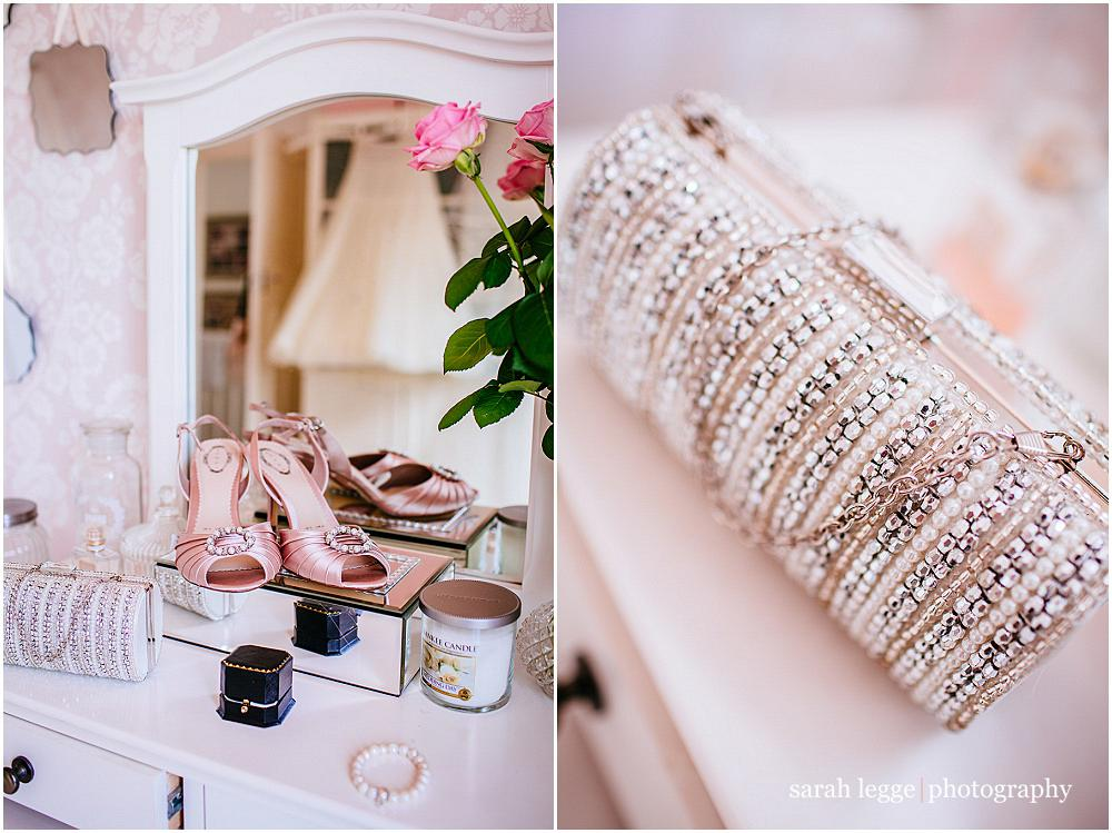 Wedding shoes on dressing table