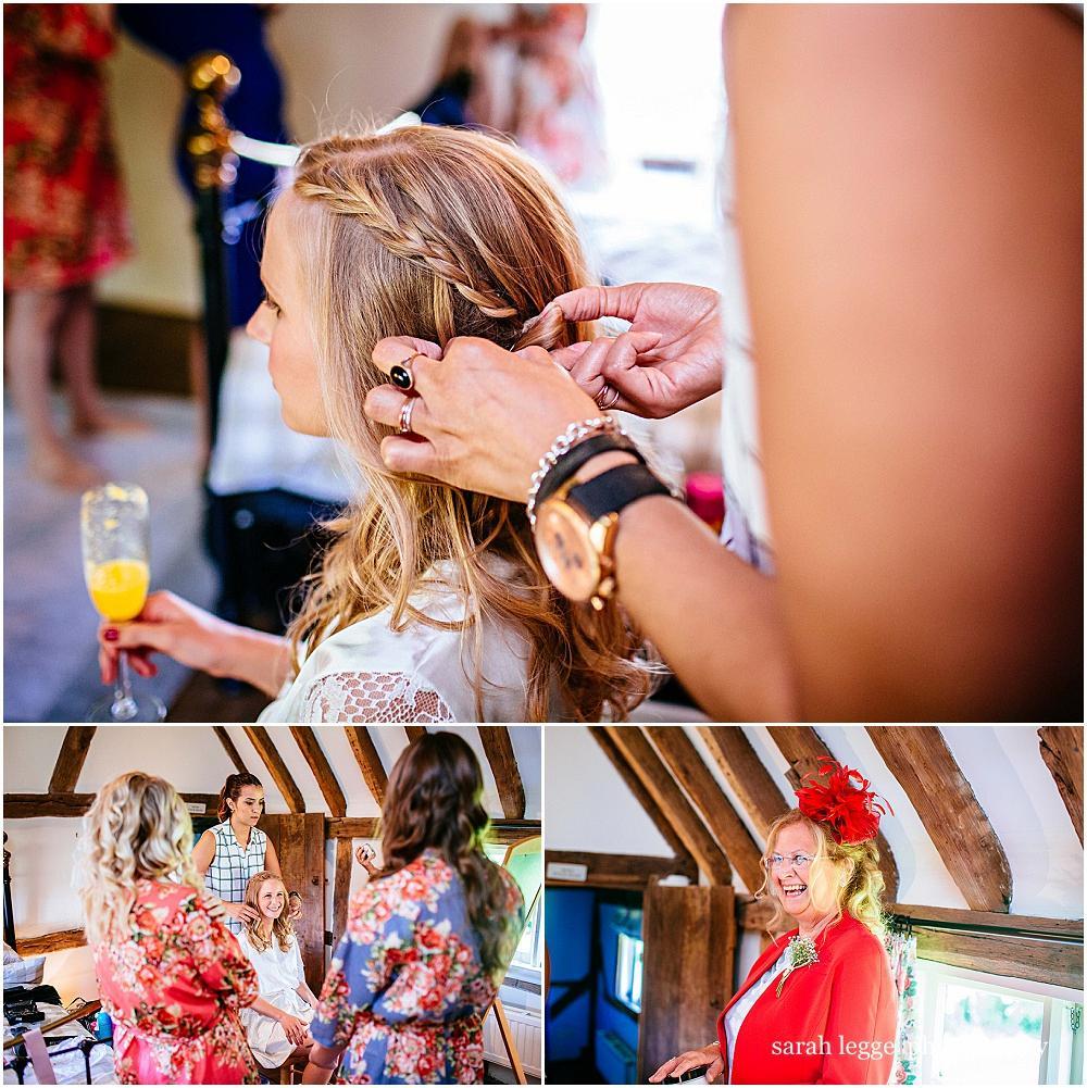 Brides hair being plaited