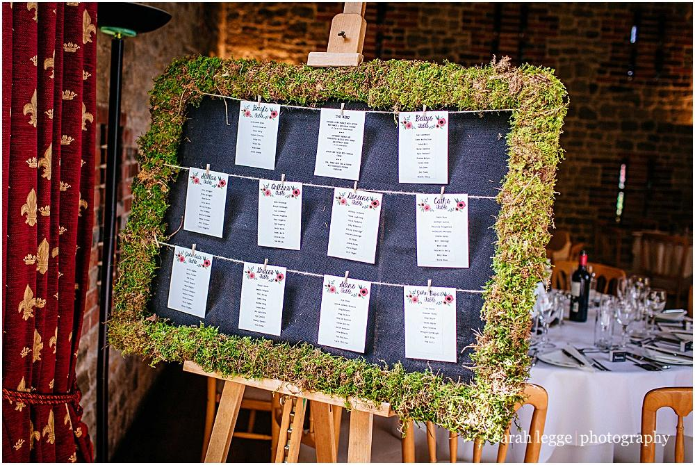 Moss covered table plan