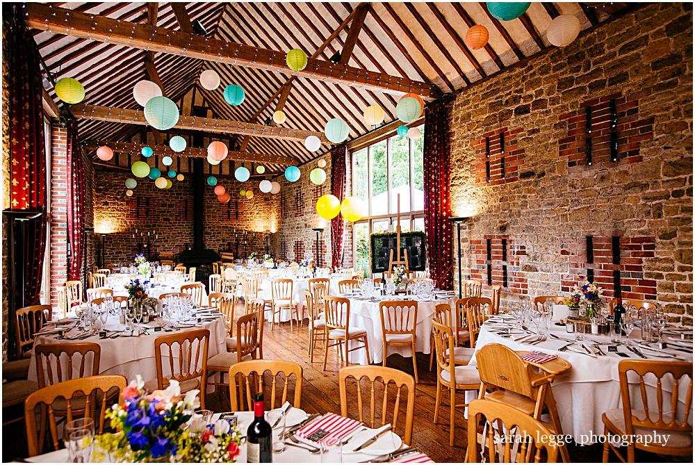 Batholomew barn with coloured lanterns