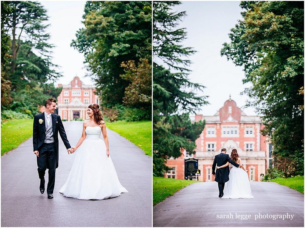 Bride and groom and Easthampstead Park