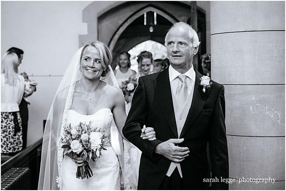 Bride and her father in Surrey church