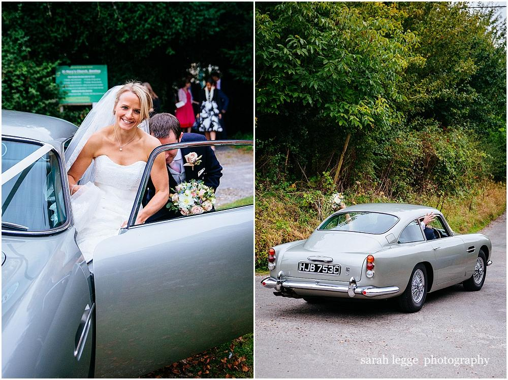 Bride in Aston martin