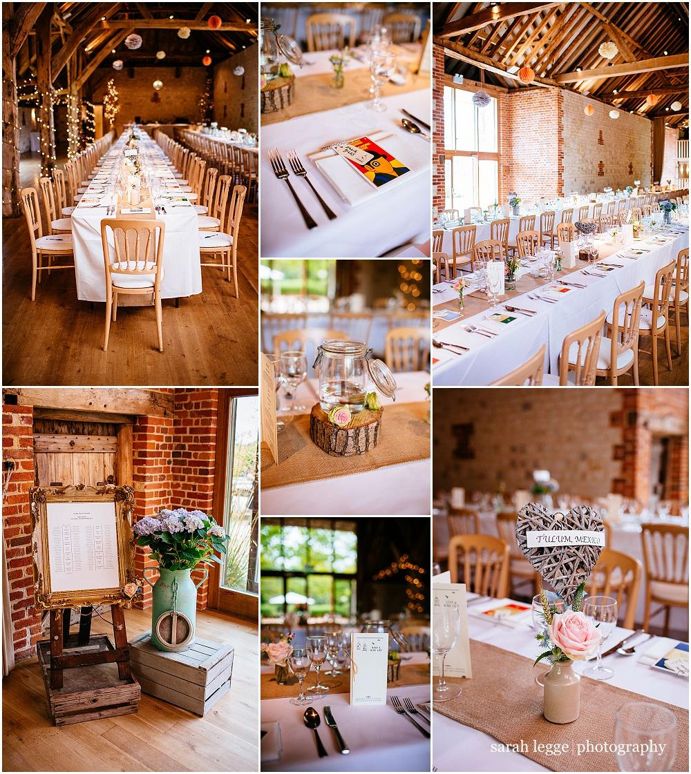 Bury Court Barn wedding with long tables