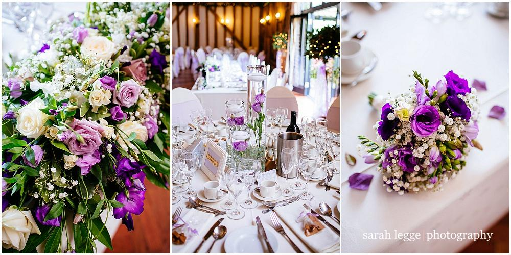 Wedding tables with purple details