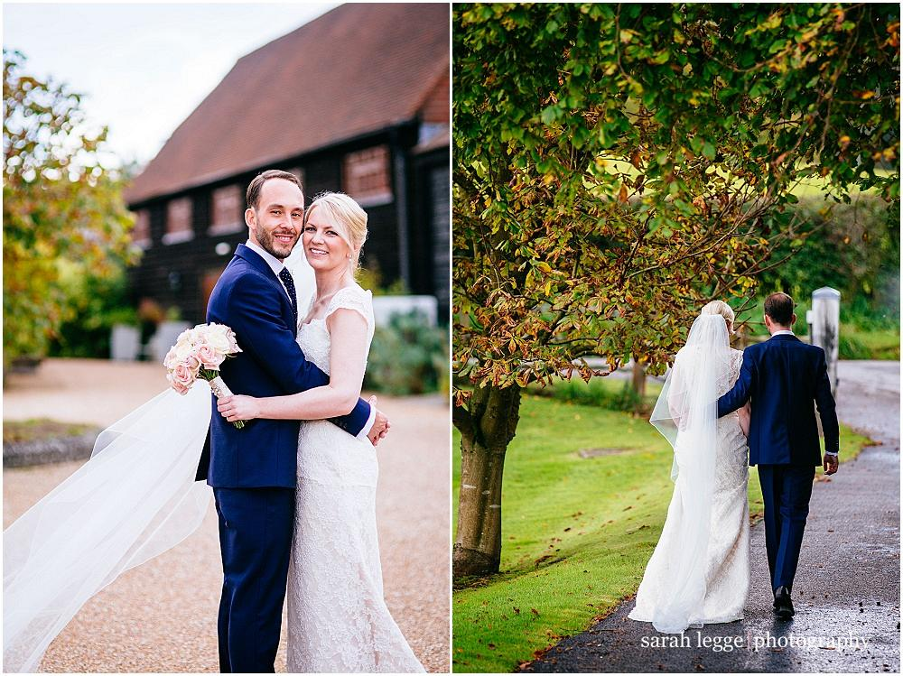 Bride and groom portraits in barn grounds