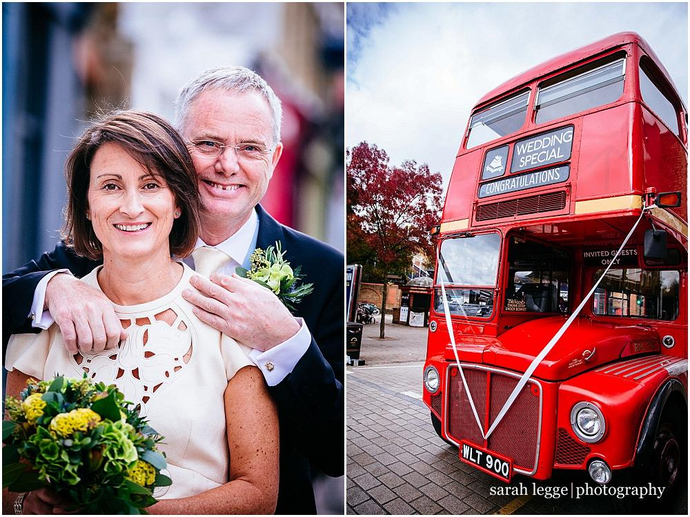 Bride and groom and wedding bus