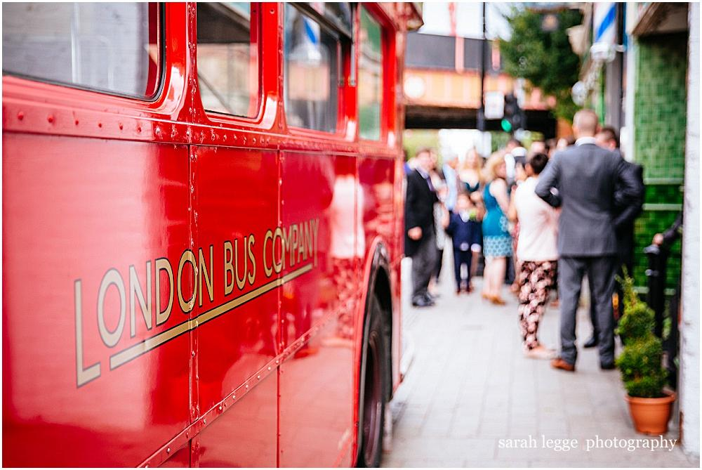 Old red routemaster london wedding bus