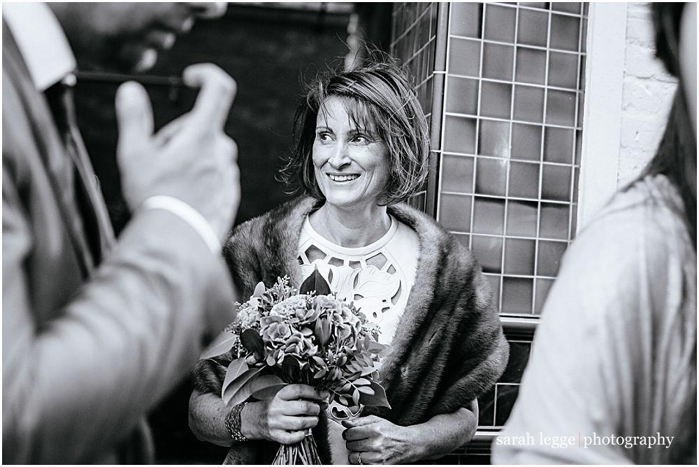 Bride outside alma