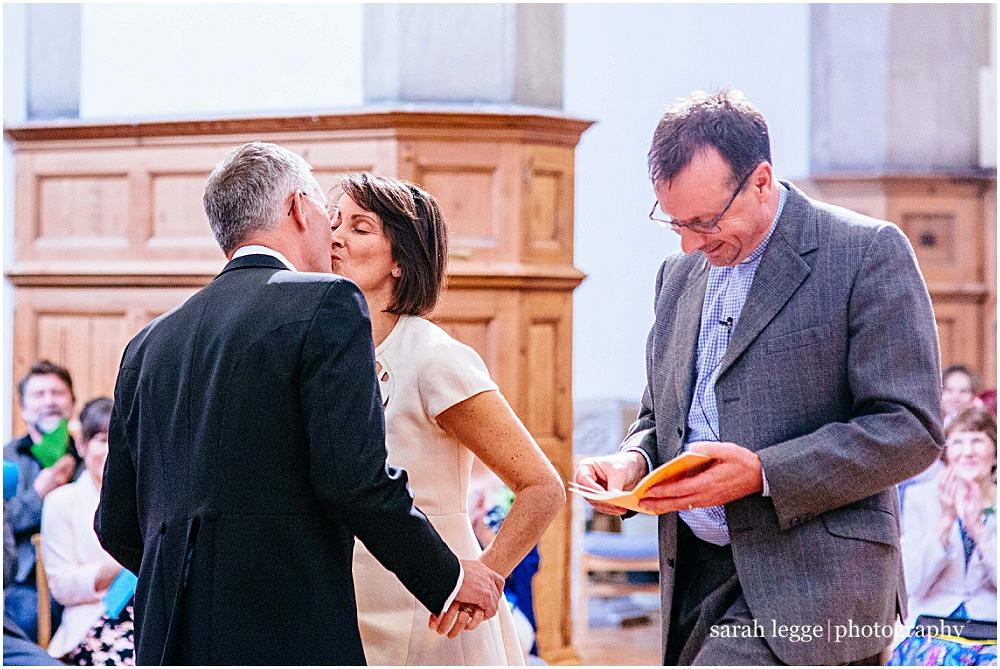 First kiss in church wedding