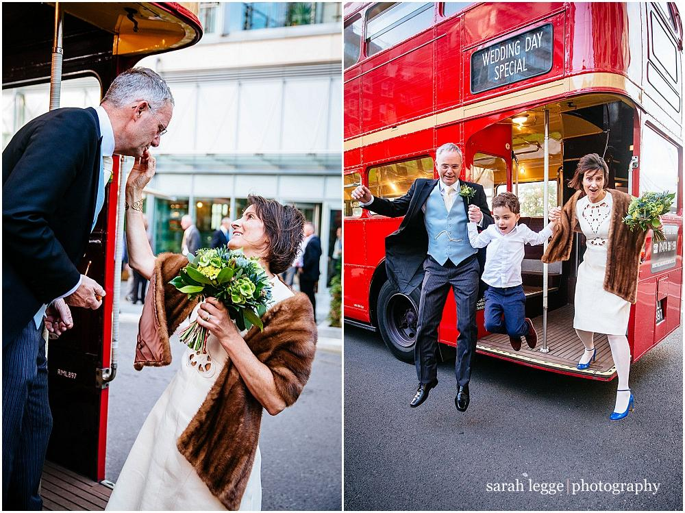 Family jumping off wedding bus