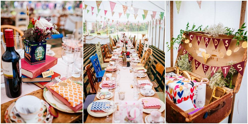 Rustic marquee wedding details vintage china