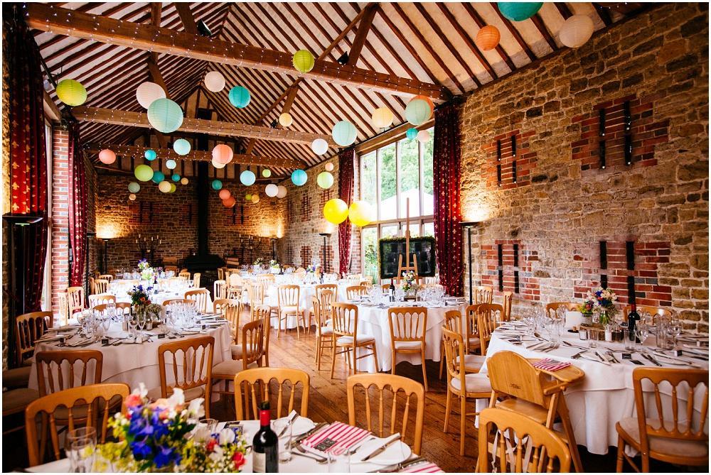 Bartholomew Barn decorated with paper lanterns
