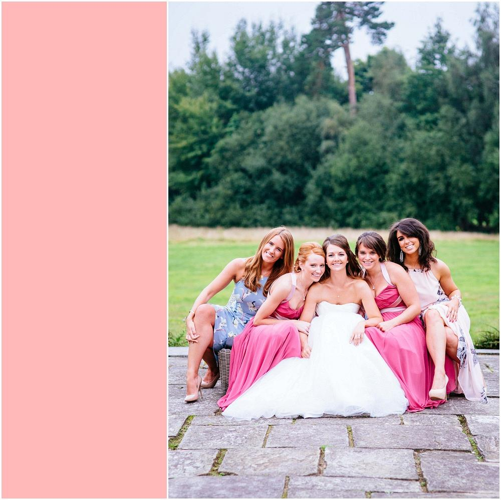 Bride and bridesmaids on sofa