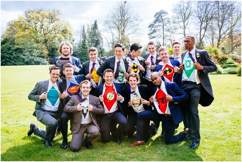 Superhero groom usher wedding photograph