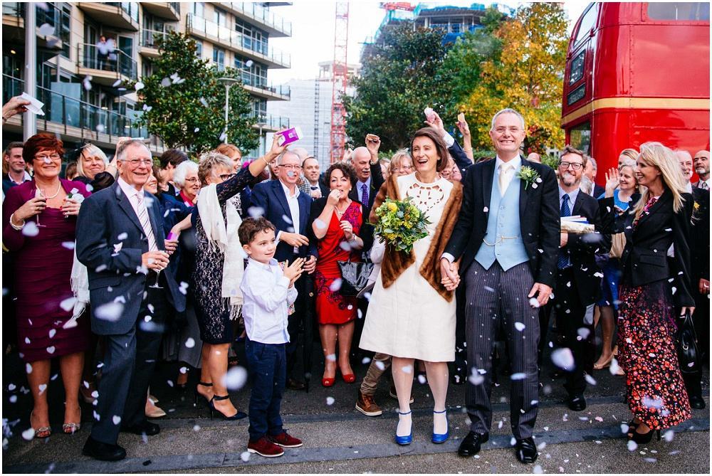 London bus confetti wedding photograph