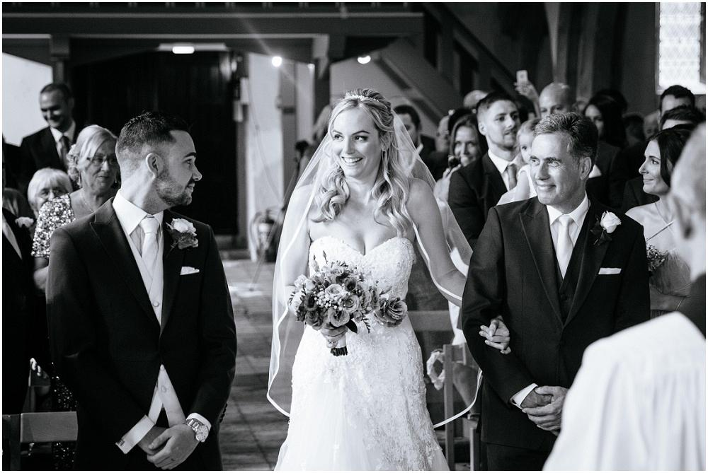 Bride arriving in church