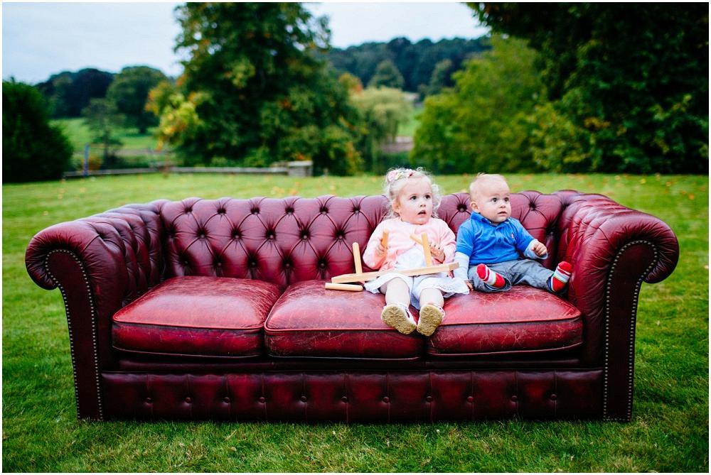 Babies on sofa