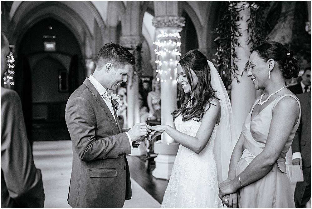 Exchange of rings in Surrey wedding